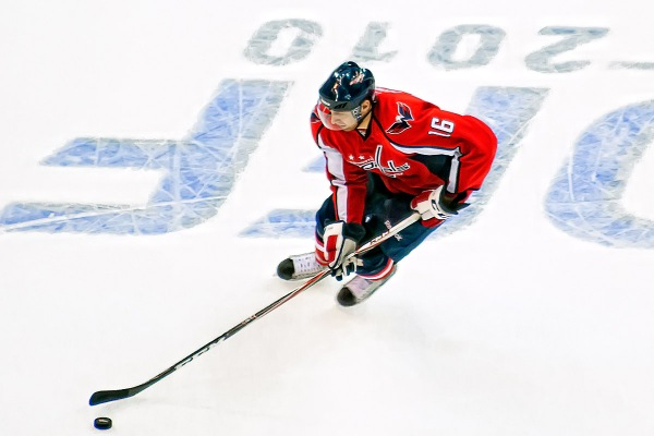 WASHINGTON, DC - October 23, 2010:  Washington Capitals forward Eric Fehr (#16) skates with the puck during their NHL ice hockey game against the Atlanta Thrashers at Verizon Center.