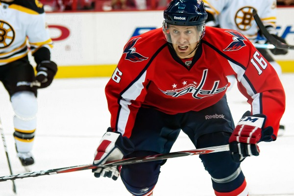 WASHINGTON, DC - November 5, 2010:  Washington Capitals forward Eric Fehr (#16) during their NHL ice hockey game against the Boston Bruins at Verizon Center.