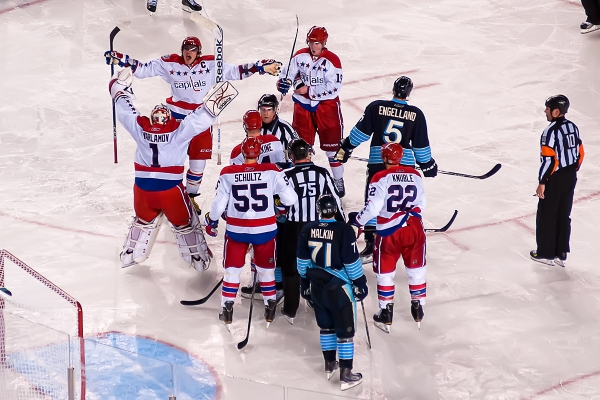 PITTSBURGH, PA - January 1, 2011:  Washington Capitals celebrate their victory over the Pittsburgh Penguins in the NHL's 2011 New Year's Day Winter Classic ice hockey game at Heinz Field.
