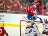 Ovechkin and Backstrom Celebrate Behind Net
