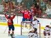 Ovechkin and Backstrom Welcome Ward to Celbration Behind Net