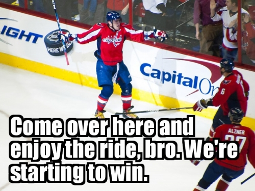Come over here and enjoy the ride, bro. We're starting to win.