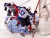 Hendricks and Puck In Pavelec\'s Crease