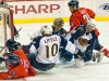 WASHINGTON, DC - April 5, 2009:  Washington Capitals forward Eric Fehr (#16) scores a goal while sliding on his back against Atlanta Thrashers  goalie Johan Hedberg (#1) during their NHL ice hockey game at Verizon Center.