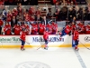 Caps Bench Celebrates Wideman\'s First of Night