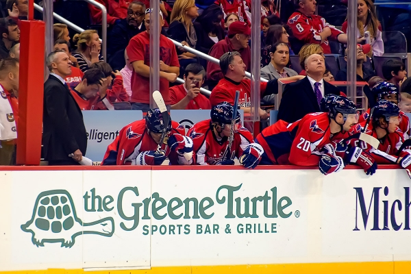 WASHINGTON, DC - November 25, 2011:  Washington Capitals players on bench during their NHL ice hockey game at Verizon Center.