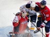Vokoun Grabs Puck in Snow
