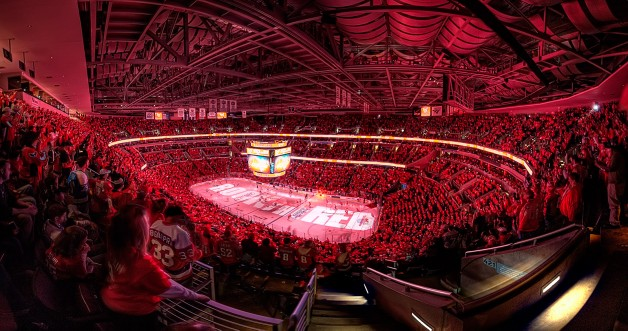 "WASHINGTON, DC - May 4, 2009:  The words ""Rock The Red"" illuminates the ice at Verizon Center before game one of the Washington Capitals semifinal playoff series against the Pittsburgh Penguins."