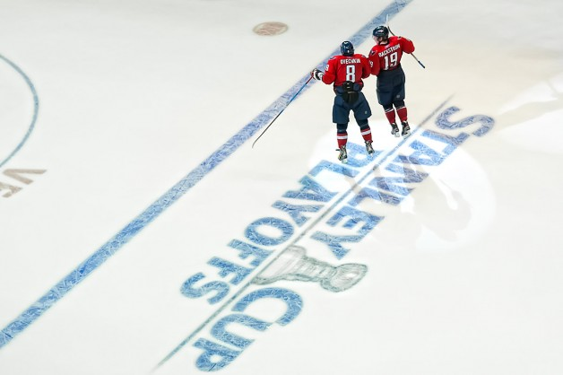 Ovechkin and Backstrom Celebrate Playoff Game Win