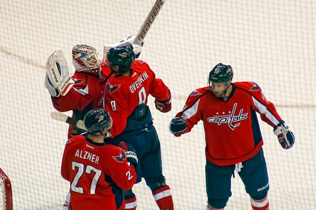 Ovechkin and Vokoun Chest Bump