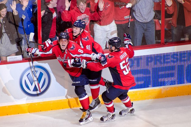 Ovechkin, Orlov, and Green Celebrate